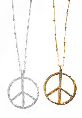 Peace symbol necklaces with rhinestones in gold and silver peace these metal peace sign pendants 1 18 286 in diameter are inset with 26 small rhinestones and come on a 16 12 42 cm chain audiocablefo